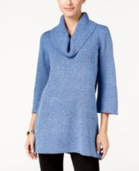 Karen Scott Marled Cowl Neck Tunic Sweater Only At Macy's Luxe Blue Marl