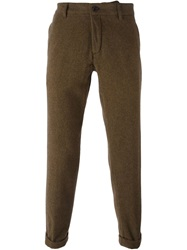 Ann Demeulemeester Tapered Tweed Trousers Green