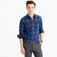 J.Crew Midweight Flannel Shirt In Black Plaid