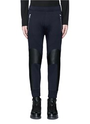 Neil Barrett Faux Leather Panel Bonded Jersey Biker Jogging Pants Blue