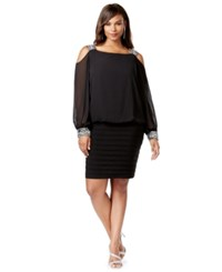 Betsy And Adam Plus Size Cold Shoulder Embellished Blouson Dress Black