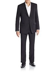 Versace Regular Fit Solid Wool Suit Black