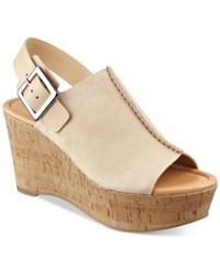 Marc Fisher Sinthya Wedge Sandals Women's Shoes Light Natural Suede