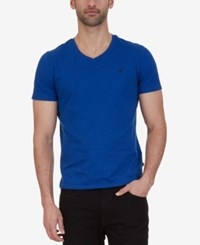 Nautica Men's Striped Slim Fit V Neck Cotton T Shirt Bright Cobalt