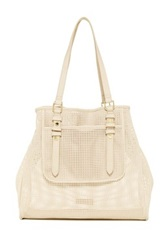 Steve Madden Sweet Perforated Soft Beach Tote White