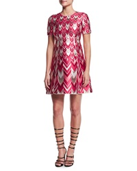 Giambattista Valli Chevron Striped Metallic Jacquard Dress Red