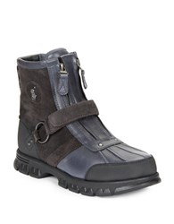 Polo Ralph Lauren Conquest Leather And Suede Work Boots Navy Grey