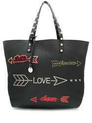Red Valentino V Arrow Embroidered Tote Bag Black