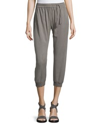 Elie Tahari Arden Slim Leg Cropped Jogger Pants Cocoa Brown Women's