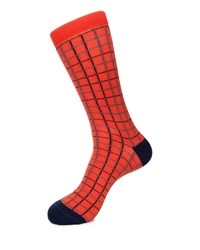 Grid Print Cotton Blend Socks Orange Pattern