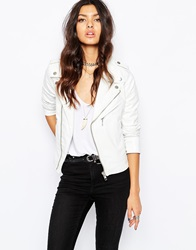 Faux London Leather Look Biker Jacket White