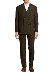 Michael Bastian Double Breasted Wool Suit Olive