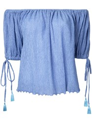 G.V.G.V. Yoryu Chiffon Off Shoulder Blouse Women Polyester Polyurethane Tencel 34 Blue