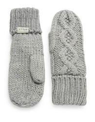 Rella Cable Knit Mittens Grey