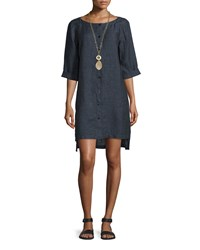 Eileen Fisher Organic Linen Button Front Dress Denim Blue Women's