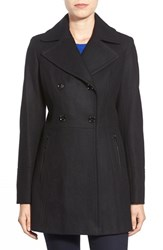 Petite Women's Michael Michael Kors Wool Blend Peacoat Black