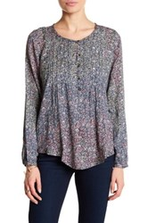 Lucky Brand Floral Peasant Blouse Gray