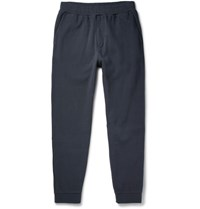 Folk Slim Fit Tapered Cotton Pique Sweatpants Navy