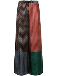 Dusan Patchwork Flared Trousers Blue