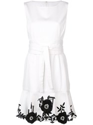 Josie Natori Embroidered Hem Denim Dress White