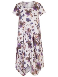 Chesca Floral Print Linen Dress White Purple