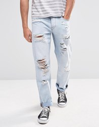 Asos Straight Jeans With Rips In Light Blue Bleach Blue