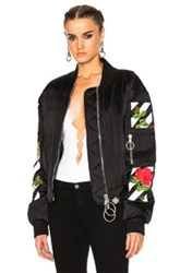 Off White Roses Bomber Jacket In Black Floral Black Floral