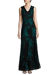 Theia Floral Embossed Gown Black
