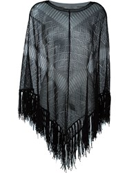 Valentino Fringed Knit Poncho Black