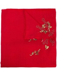 Janavi Surreal Skull Scarf Red