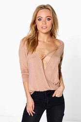 Boohoo Petite Edie Wrap Front Strappy Long Sleeve Top Camel