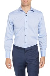 Lorenzo Uomo Big And Tall Trim Fit Geometric Dress Shirt Light Blue