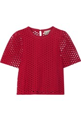 Sea Cropped Broderie Anglaise Cotton Top Red