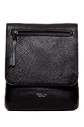 Perlina Sky Leather Flap Crossbody Black