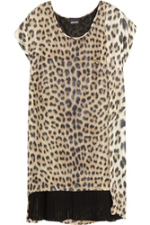 Just Cavalli Leopard Print Silk Chiffon Mini Dress