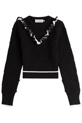 Preen By Thornton Bregazzi Cropped Wool Pullover With Ruffles Black