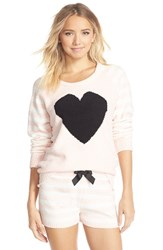 Women's Betsey Johnson Heart Raglan Sweater Stripe Pristine Veiled Rose