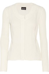 Just Cavalli Pointelle Trimmed Ribbed Knit Cardigan Off White