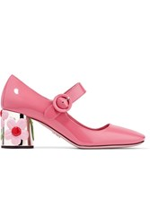 Prada Embellished Patent Leather Pumps Pink