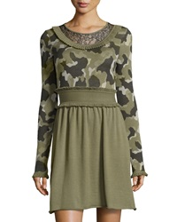 Red Valentino Camouflage Ruffle Trim Long Sleeve Dress Green
