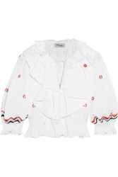Temperley London Spellbound Cropped Embroidered Cotton Top White