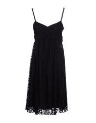 Galliano Knee Length Dresses Black