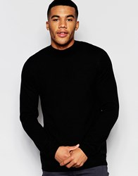 Asos Merino Wool Turtleneck Jumper In Black Black