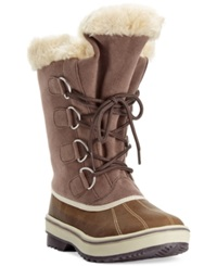 Style And Co. Mikkey Lace Up Faux Fur Cold Weather Boots Only At Macy's Women's Shoes Brown