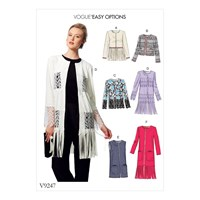 Vogue Easy Options Women's Open Front Jacket And Vest Sewing Pattern 9247