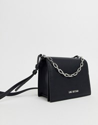 Love Moschino Black Across Body Bag With Silver Chain