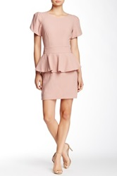 Vertigo Short Sleeve Peplum Dress Beige