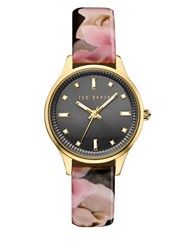 Ted Baker Zoe Round Floral Print Leather Strap Analog Watch