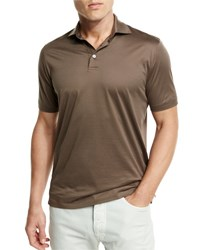 Ermenegildo Zegna Mercerized Cotton Polo Shirt Light Brown Lt Brw Sld