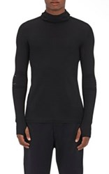 Y 3 Sport Men's Mock Turtleneck Hooded Sweater Black